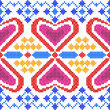 Cross Stitch Embroidery Geometrical design for seamless pattern texture Royalty Free Stock Image