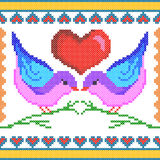 Cross Stitch Embroidery love bird design for seamless pattern texture Stock Image
