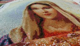 Cross stitch Embroidery our lady potrait Royalty Free Stock Photography