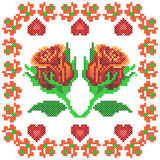 Cross Stitch Embroidery Rose Floral design for seamless pattern texture Stock Photos