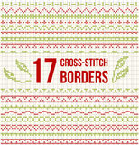Cross-stitch embroidery - set of borders Stock Image
