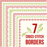 Cross-stitch embroidery - seven thin borders Royalty Free Stock Image