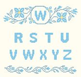 Cross-stitch embroidery in Ukrainian style, embroidered flowers and ABC, floral border. Design elements for cross-stitch embroidery. Blue colors, vector vector illustration
