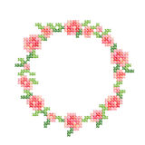 Cross-stitch embroidery, vintage styled floral frame with pink roses and leafs. Stock Images