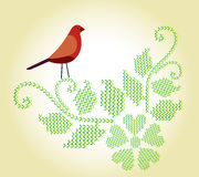 Cross-stitch flourish with bird. Homespun cross-stitch flourish with bird and heart cross-stitch flower vector illustration
