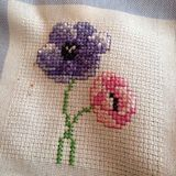 Cross stitch flowers. A cross stitch design of two Royalty Free Stock Images
