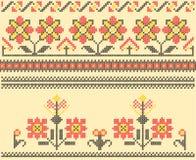 Cross stitch folk sewing. Sets of ethnic cross stitch romanian flourish pattern Royalty Free Illustration