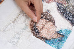 Cross stitch Handcrafts. Hand made royalty free stock image