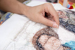 Cross stitch Handcrafts. Hand made royalty free stock photo