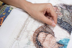 Cross stitch Handcrafts. Hand made royalty free stock photography