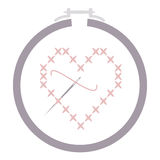 Cross Stitch Heart with Needle in a Hoop Stock Photos