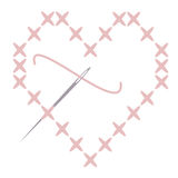 Cross Stitch Heart with Needle. Vector cross stitched heart with needle and thread Stock Photography