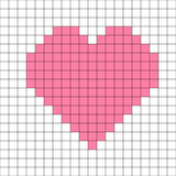 Cross-stitch heart pattern vector. Cross-stitch pink heart pattern on white bankground vector Royalty Free Stock Photo