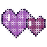 Cross-stitch, hearts. Vector. Cross-stitch. Vector. Two hearts Stock Photo