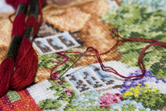 Cross stitch image Stock Photos