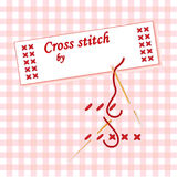 Cross Stitch Label. Cross stitch how to demonstration with gold needle, sewing label on gingham background. Add name to label Royalty Free Illustration