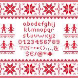 Cross stitch lowercase alphabet with numbers and symbols pattern, embroidery design. Embroided red letters on white background,  font collection Royalty Free Stock Photography
