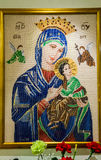 Cross stitch of Mother Mary, Mother of Perpetual Help at Sacred Heart Church Seattle Washington Stock Image