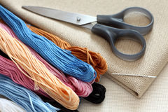 Cross-Stitch. Preparations for embroidery (Cross-Stitch). Close-up Stock Image