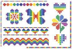 Cross stitch rainbow elements. Set of vector cross stitch rainbow elements vector illustration