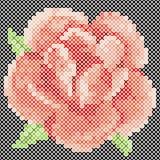 Cross Stitch Red Rose Stock Photo