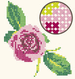 Cross Stitch Rose Embroidery. Digitally created cross stitch with a beautiful pink rose Stock Image