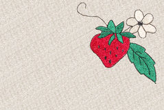 Cross-stitch strawberry Stock Photos