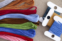Cross stitch threads and embroidery thread cards Royalty Free Stock Images