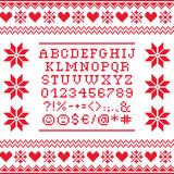 Cross stitch uppercase alphabet with numbers and symbols pattern, embroidery design. Embroided red letters on white background,  font collection Stock Image