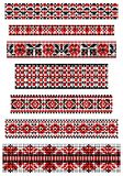 Cross stitch Vector black and red ethnic borders Stock Photo