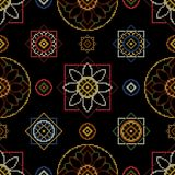 Cross stitch for napkins. Cross stitch vector illustration. Bright seamless dark pattern background for floral napkins Stock Images