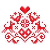 Cross stitch vector seamless folk art single pattern with flowers and animals - retro background inspired German old style retro e. Red symmetric floral vector illustration