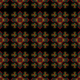 The cross-stitch. Yellow, red, green, and black colors. stock illustration