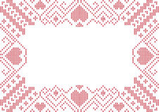 Cross-stitched frame with hearts Royalty Free Stock Photos