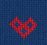 Cross-stitched heart Stock Photo