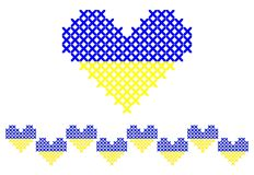 Cross stitched heart and seamless border. Cross stitched heart in Ukrainian flag colors stock illustration