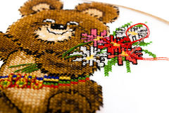 Cross stitched olimpic bear Royalty Free Stock Images