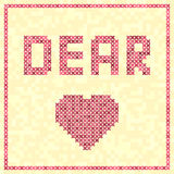 Cross-stitched vector heart with DEAR title Royalty Free Stock Photos