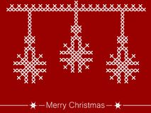 Cross-stitching instruction with ornaments for christmas. Simple, beautiful shapes with festive ornaments. Clean design for Christmas prints. Beautiful design Stock Photos