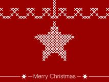 Cross-stitching instruction with star for christmas. Simple, beautiful shapes with festive ornaments. Clean design for Christmas prints. Beautiful design for Stock Image