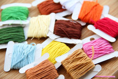 Cross-stitching threads. An assortment of stitching threads of various colours Stock Image