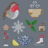 Cross stitcn christmas winter ornament. Cross stitch vector christmas elements birds snowflake Royalty Free Stock Image
