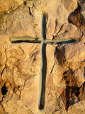 Cross in the stone Stock Image