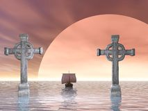 Cross stone. Rendered stone cross or crucifix celtic version and a viking ship Royalty Free Stock Photos