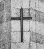 Cross with stone background. Royalty Free Stock Photos