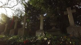 Cross Stone in Christian Cemetery stock footage