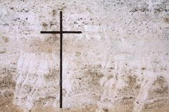 Cross in stone Stock Image