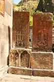 Cross-stones at Geghard monastery royalty free stock image