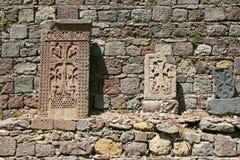 Cross-stones at Geghard monastery stock image