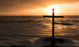 Cross of Storm Sea Stock Image